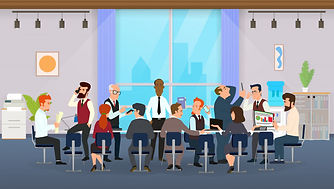 office-workers-sitting-round-table-discu