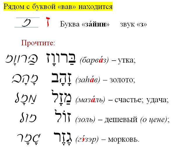 еврейский алфавит ЗАИН