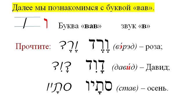 еврейский алфавит ВАВ