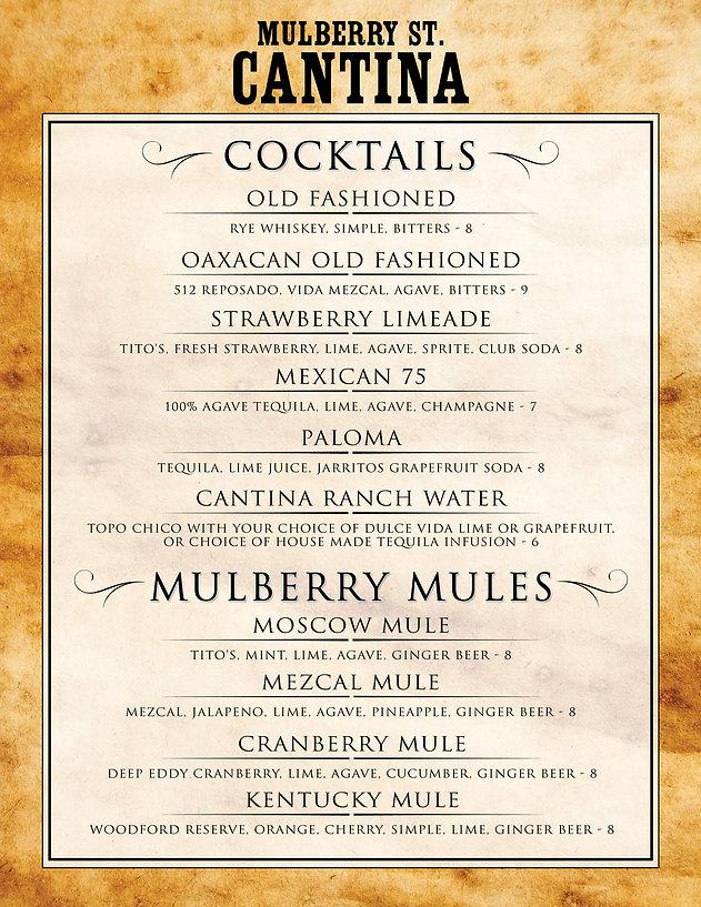 Cantina Cocktail Menu