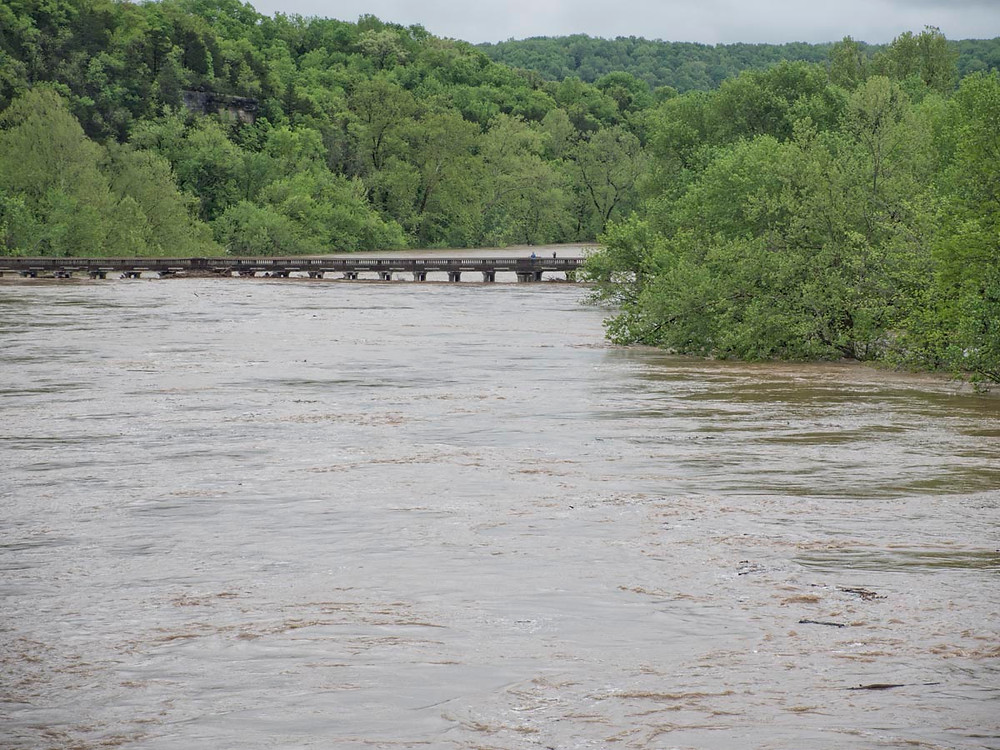 """The James River at the """"Y"""" bridge in Galena - almost completely submerged.."""