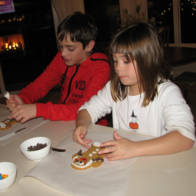 Designing Gingerbread with cousin Jake