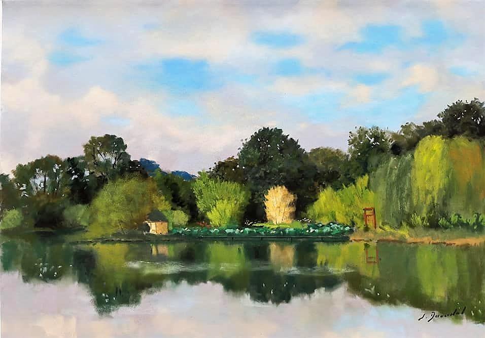 Reflets sur l'étang Pastel 40x50