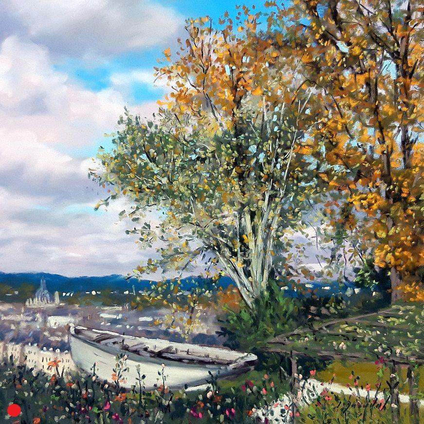 Laval,le bateau d'Alain Gerbault Pastel 30x30