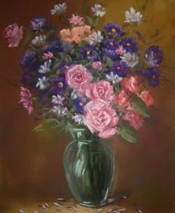 Rose et bleuets