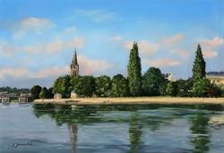 Matin d'été à Avesnières Pastel 35x50