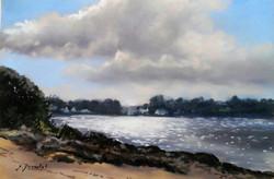 Contre jour à Brehuidic Pastel 20x30