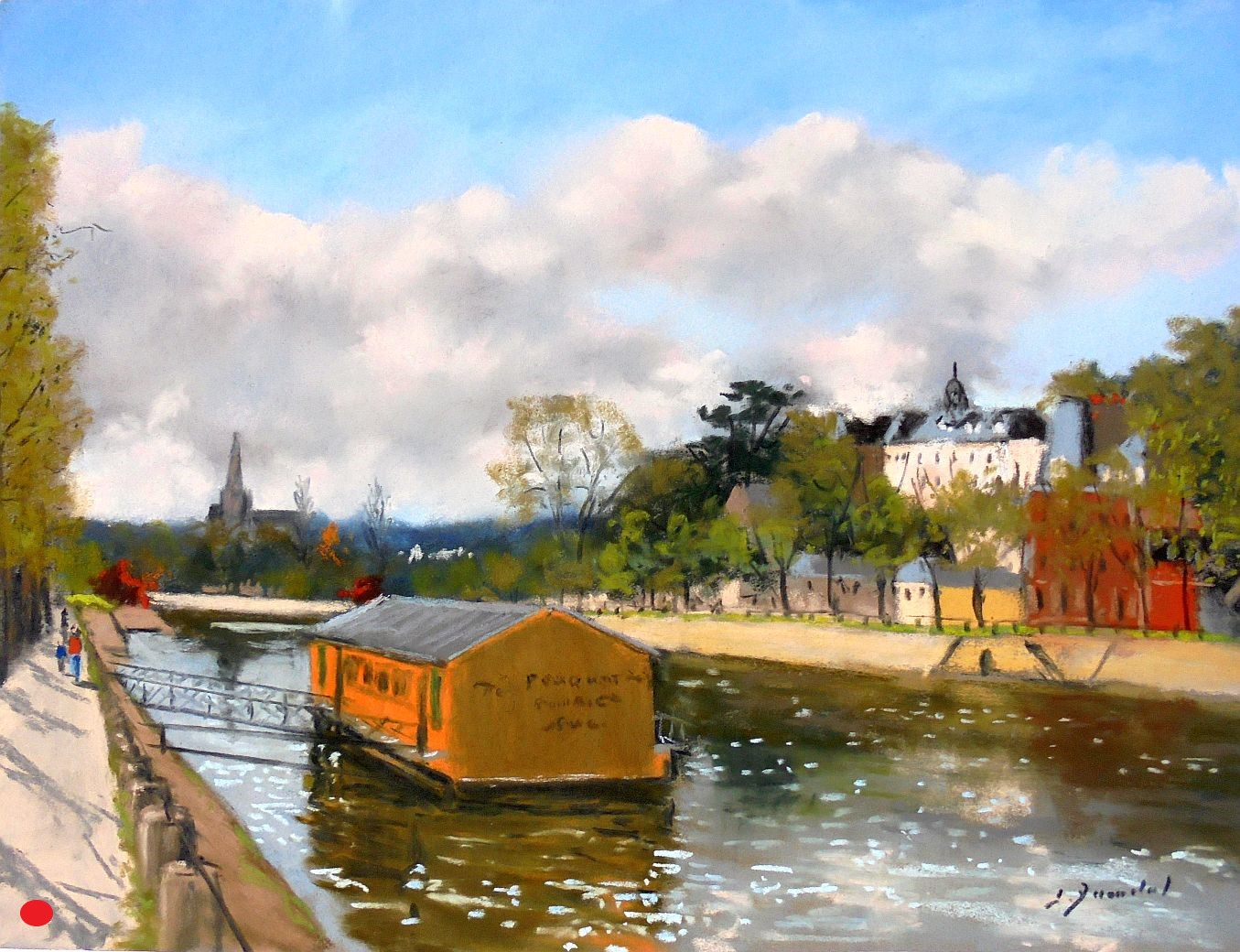 Laval,le bateau lavoir Pastel 30x40