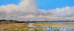Marée basse à Penvins Pastel 18x43