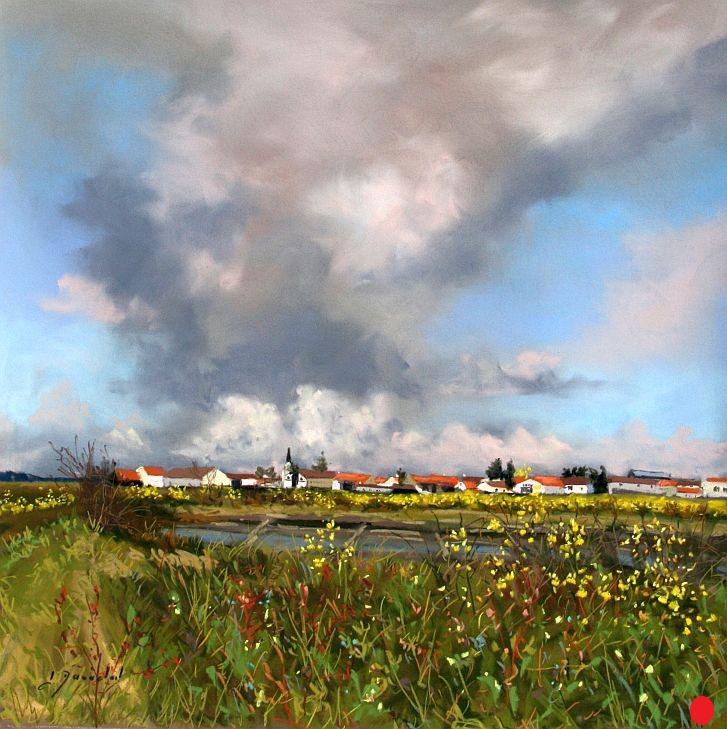 Le marais d'Ars Pastel 50x50