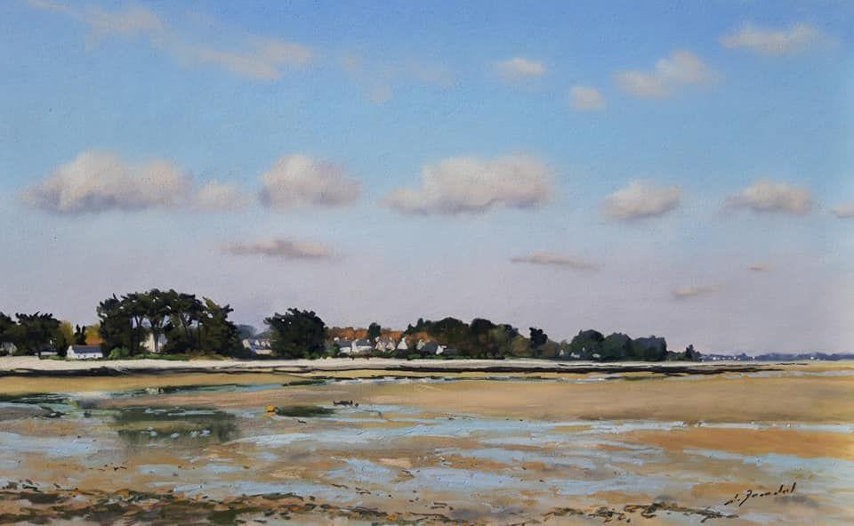 Marée basse à Penvins Pastel_30x50