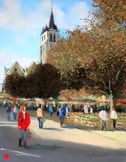 Place de la cathédrale à Laval Pastel 30x40