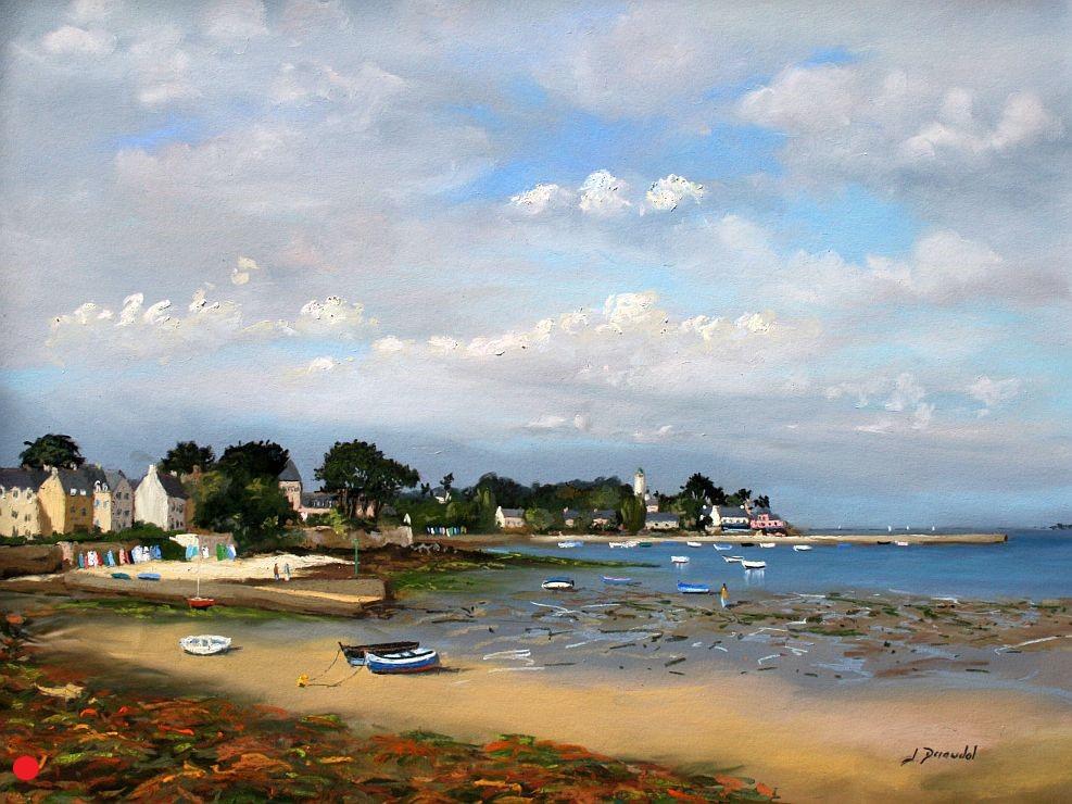 Port Navalo marée basse Pastel 46x61