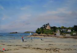 Dinard plage de l'écluse Pastel 35x50