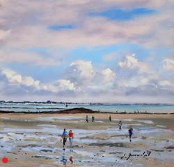 Marée basse à Banastère Pastel 20x20.