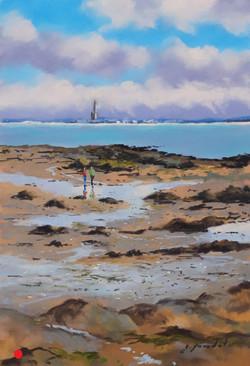 Marée basse à Larmor Pastel 20x30
