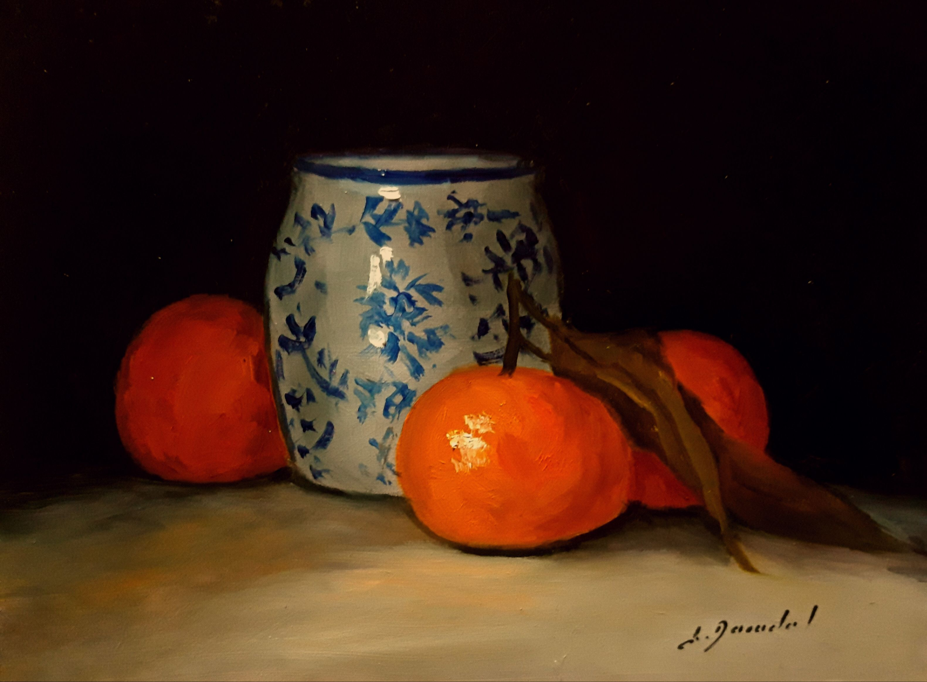 Clementines and chinese pot H15x20