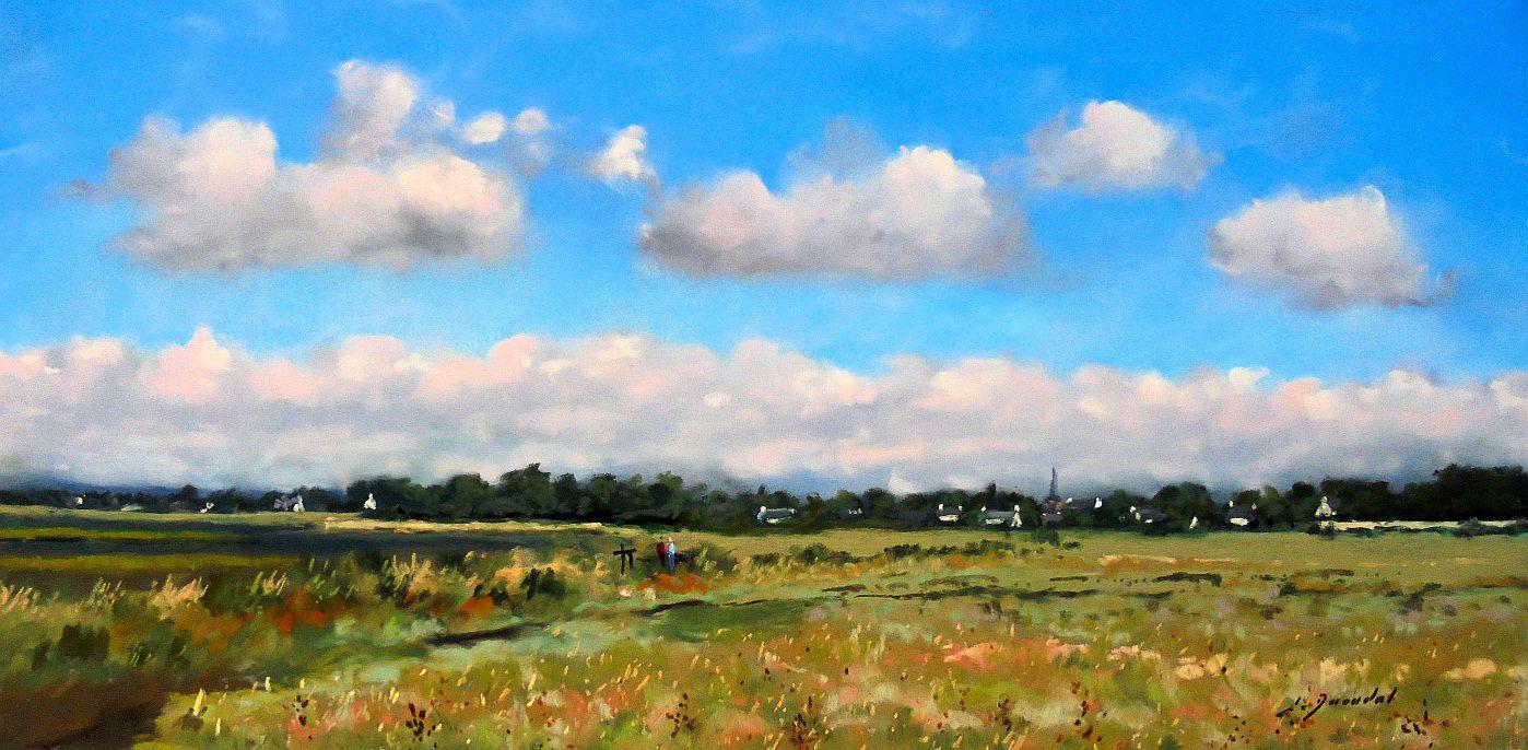 Le marais de Saint Armel Pastel 25x50
