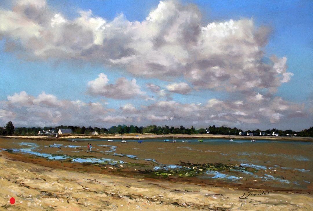 Marée basse à Banastère Pastel 30x40.