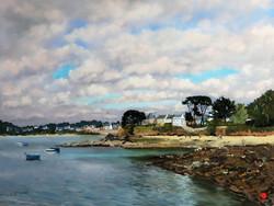 Marée haute à Port Navalo Pastel 35x50
