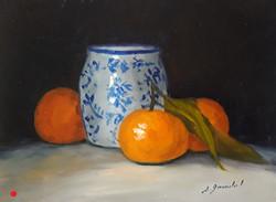Clémentines au vase bleu Huile 15x20