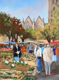 Jour de marché à Laval Pastel 24x33