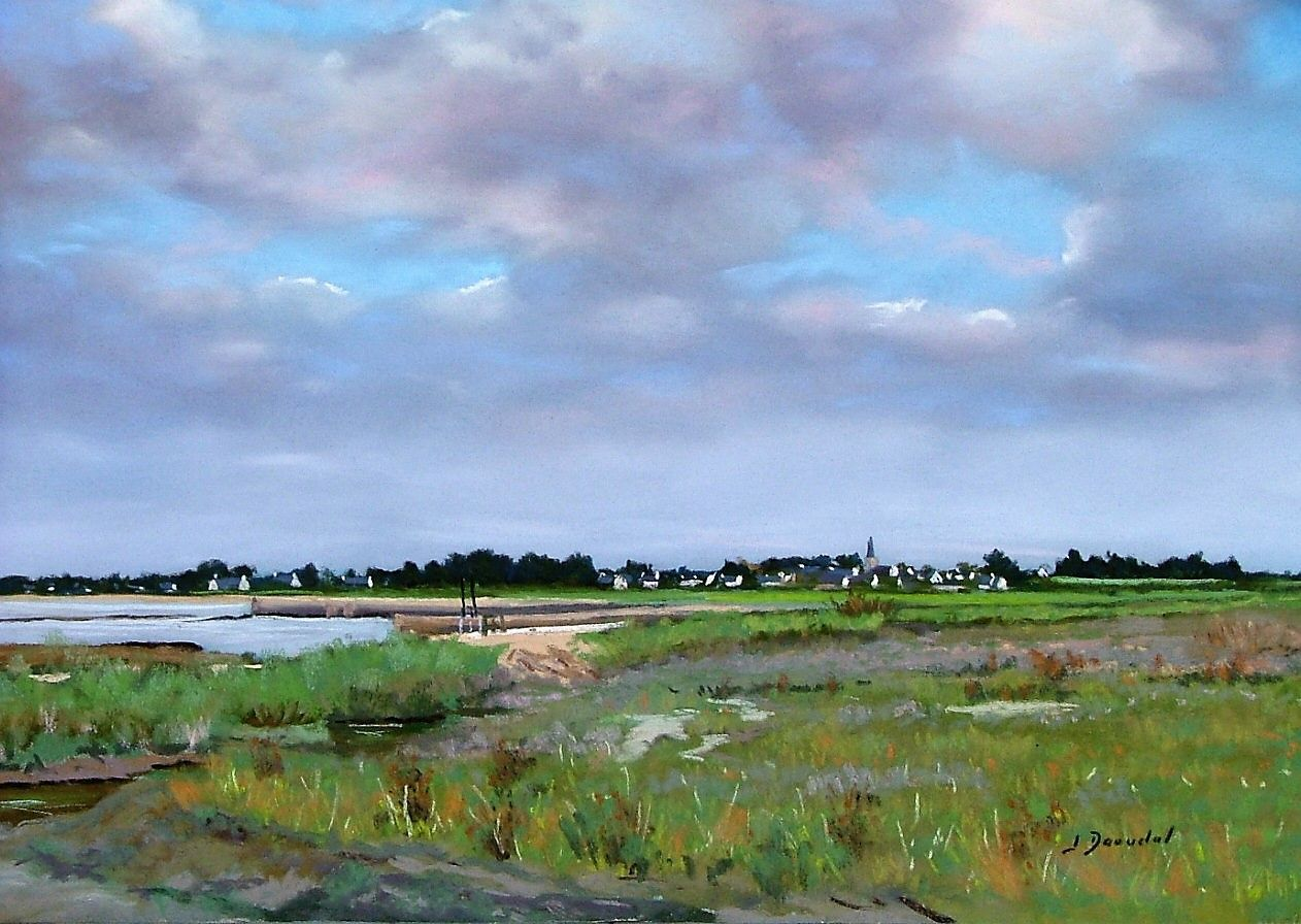 Le marais de Saint Armel Pastel 35x50.