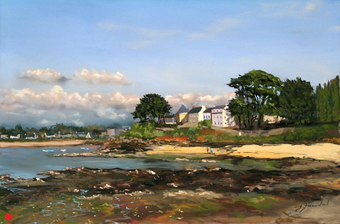 La cale de Port Navalo au soleil Pastel oleil  35X50.