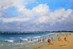 Sur la plage Huile 24x35