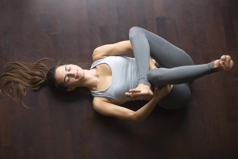 Supine Pigeon Recovery Yoga