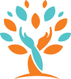 Seniors Living Well logo, hands circling tree, helping hands, tree and hands