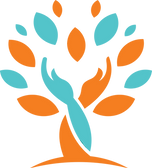 Seniors Living Well logo, hands circling tree, hands and tree logo