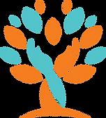 Seniors Living Well logo, hands circling tree, hands and tree logo