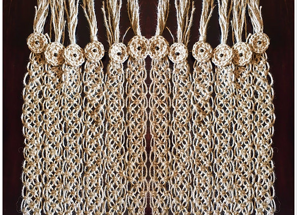 Jute macrame curtain tie-backs
