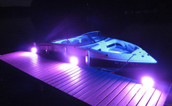 Boat and Dock in Purple and Blue