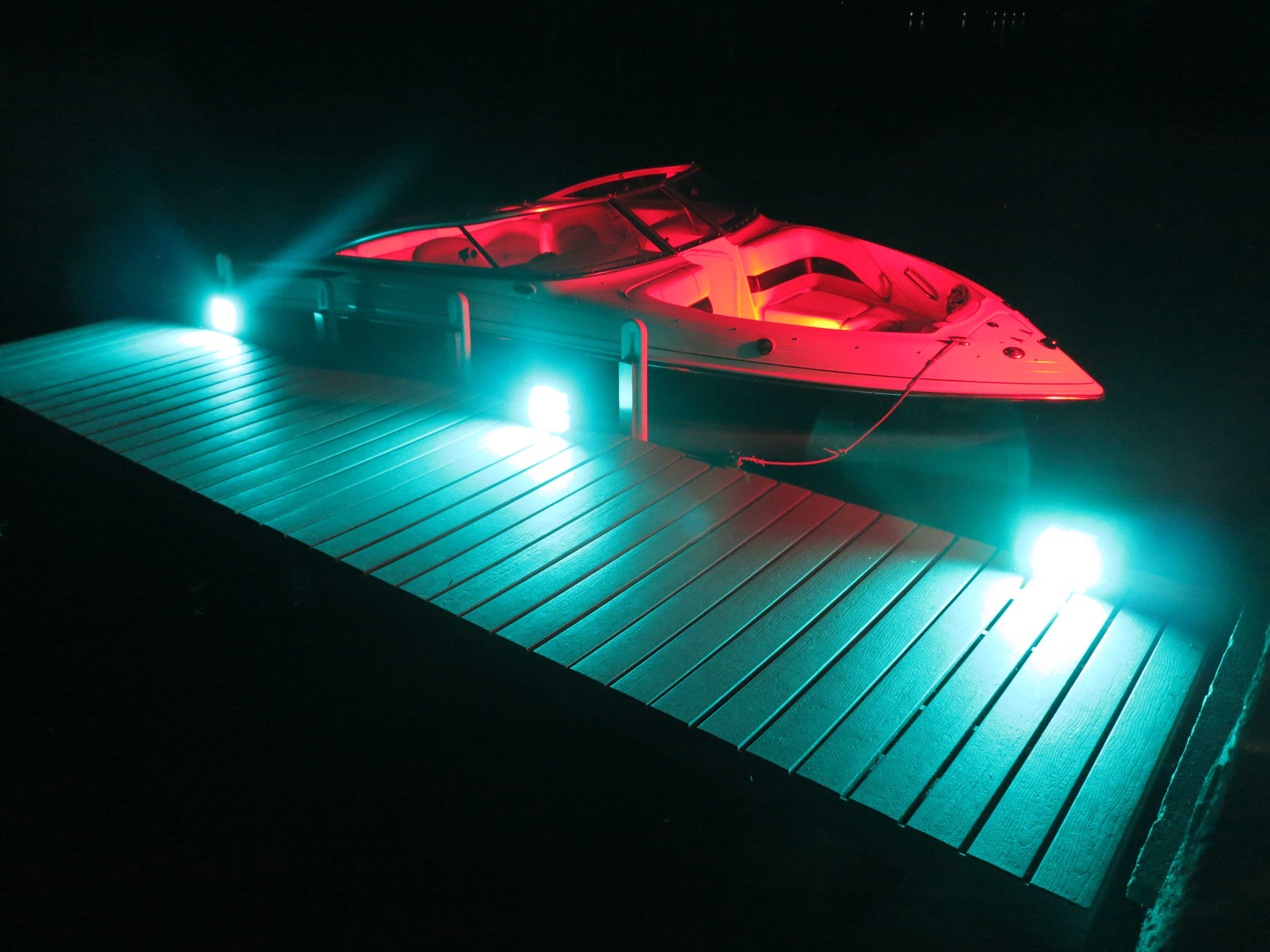 Portable LED Lights on a Dock