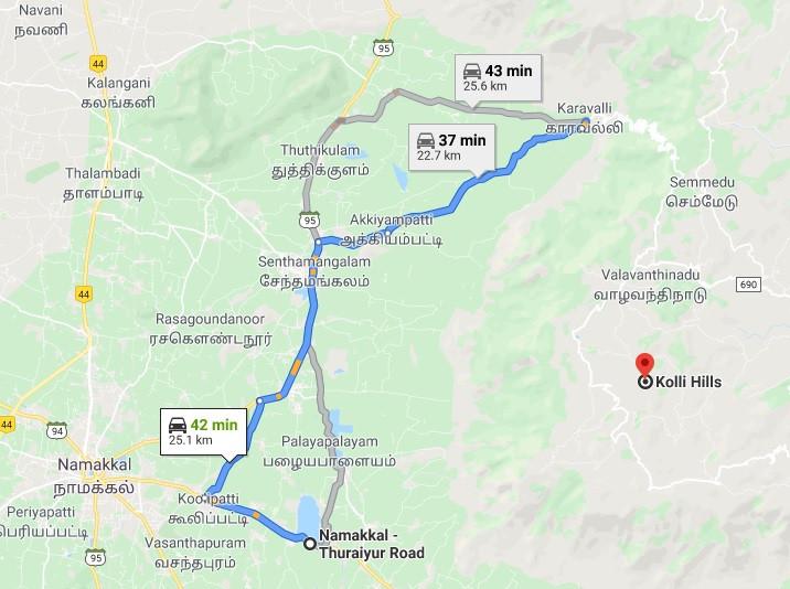 Map kolli Hills to namakkal