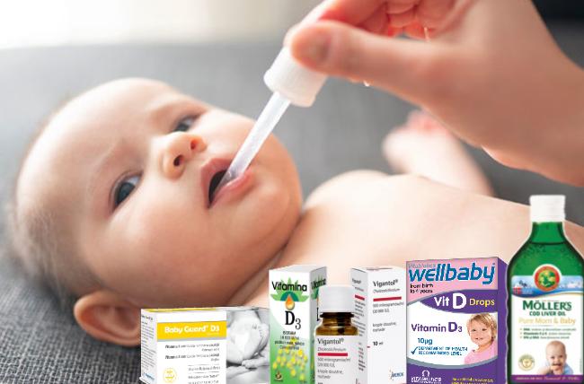 Suplimente cu vitamina D. Vigantol. Baby Guard. Mollers oil. Wellbaby