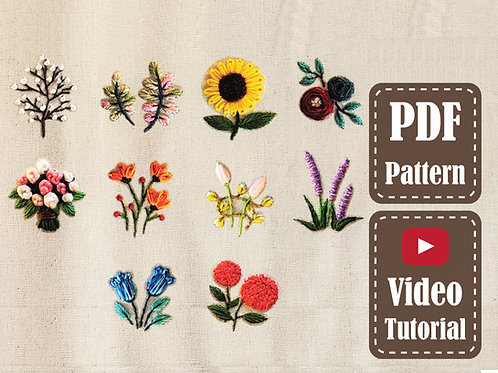 10 Flowers | Hand Embroidery Floral