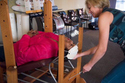 Dr. Lindell treats a patient with traction