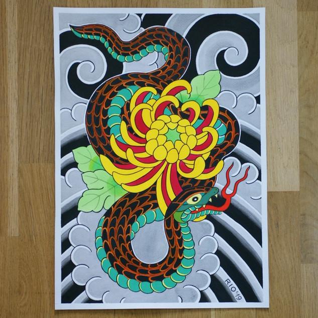 'Snake and chrysanthemum'
