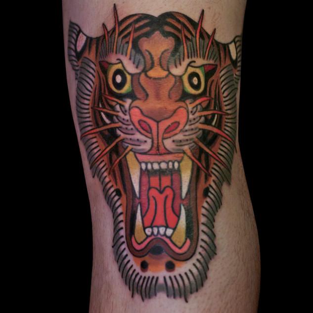 Tiger tattoo on kneecap
