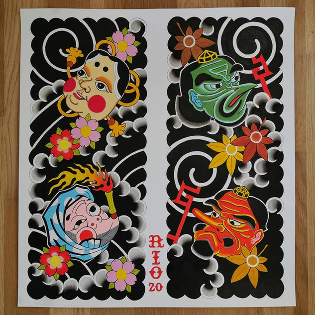 'Hyottoko and Tengu munewari'