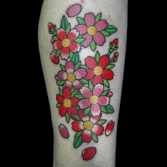 cherry blossoms on leg