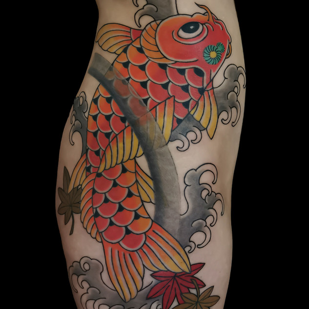 Upstream koi on side (detail)