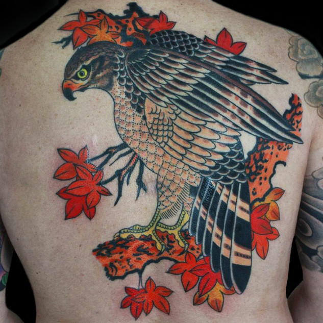 Hawk backpiece tattoo