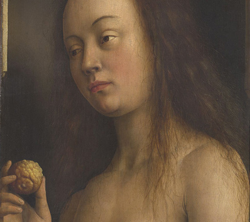 Detail of Eve holding an etrog