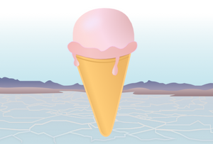 Giant Ice cream in a drought environment