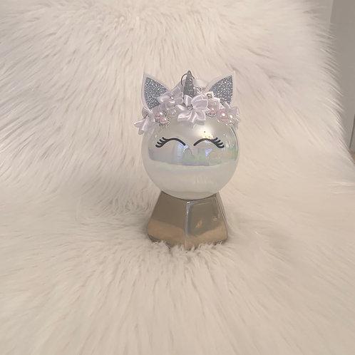 Unicorn Ornament silver & white