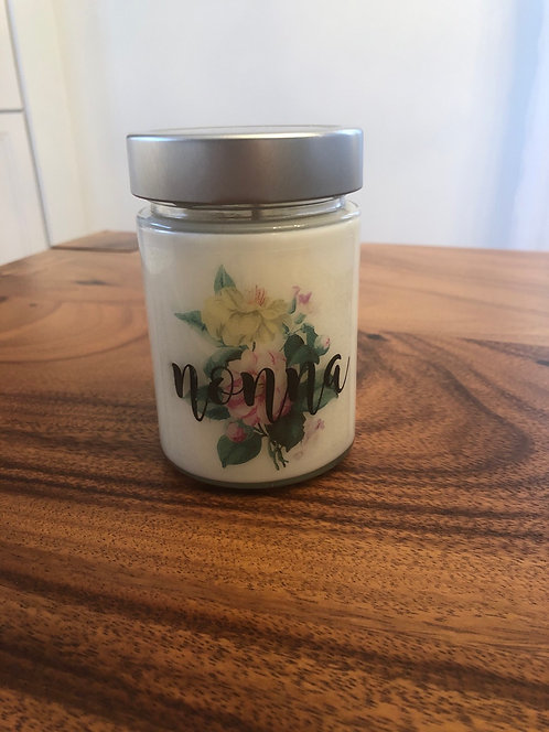 Custom Text Floral Candle